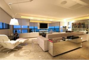 sala com granito branco