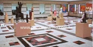 Museu com Piso de Granito Branco Dallas e detalhes em Granito Verde Ubatuba e Vermelho Brasília